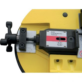 Manual saw blade tensioner with indicator  for easy blade change